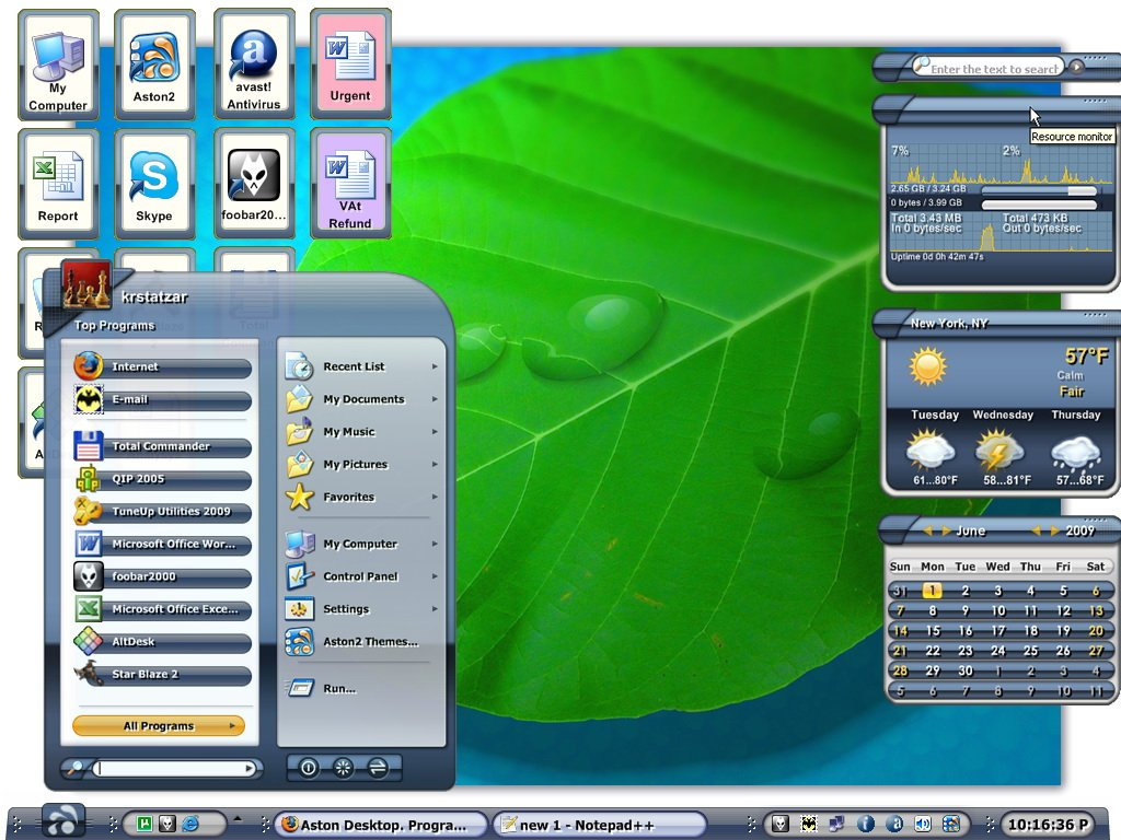 Aston2 will turn your Desktop into the more powerful, fast and beautiful operating environment. Aston2 contains all the basic shell components as well as widgets, which enable advanced Desktop features. Aston2 supports themes, live wallpapers.